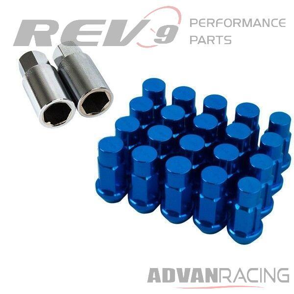 Godspeed 50mm Blue Aluminum Lug Nuts 20pc M12x1.5 Fits